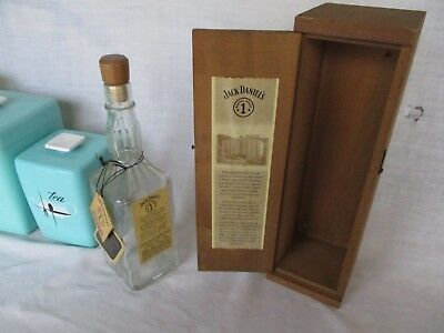 Used, Jack Daniels 1994 Collectible Barrel House Wooden Box + Empty Bottle 2 hang Tag  for sale  Shipping to Canada