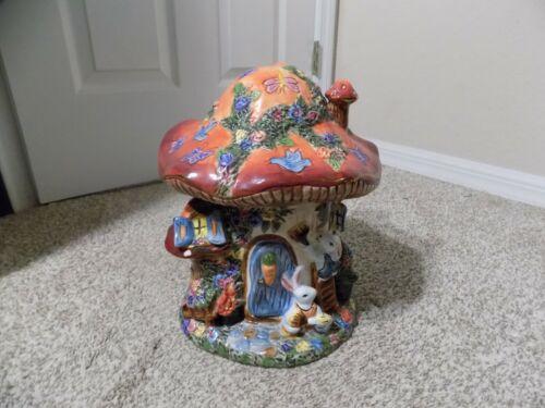 Large Ceramic Decorative Mushroom House Cookie Jar