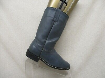 Acme Navy Leather Roper Cowboy Western Boots Womens Size 6 M Style 18062