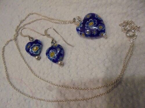 STERLING SILVER THOUSAND FLOWERS BLUE GLASS   NECKLACE / EARRINGS