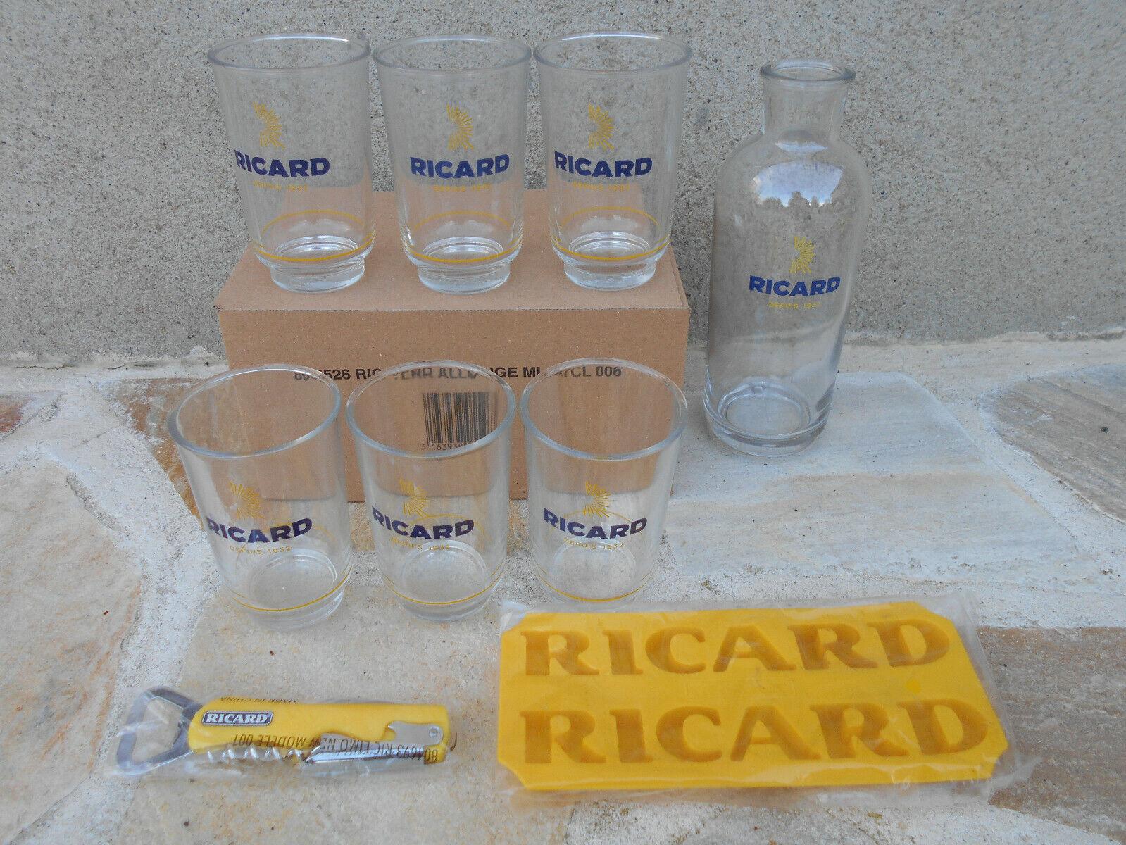 Lot 6 verres ricard allongés 27 cl + carafe + limodier + moule à glaçons