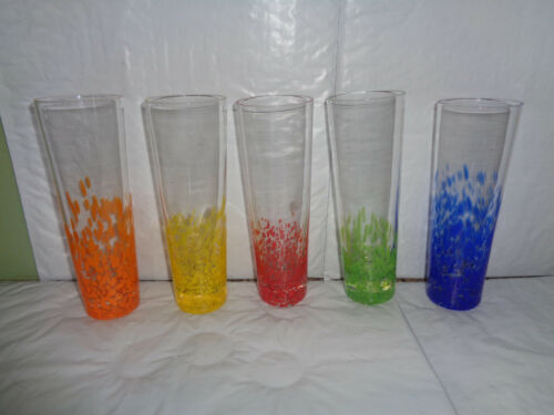 5 Tall - Colorful Dots - Cocktail Drinking Glasses Set