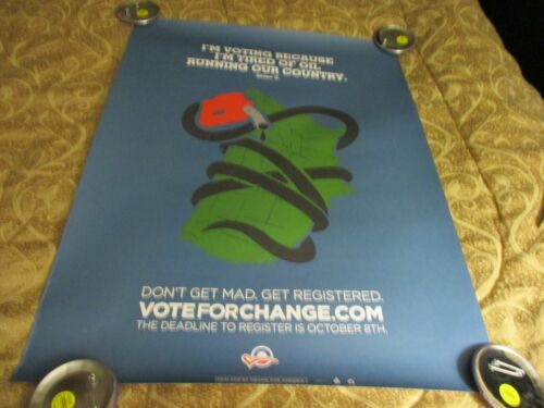 """Barack Obama 2008 Campaign Poster Presidential Political Tired Of Oil 18"""" x 24"""""""