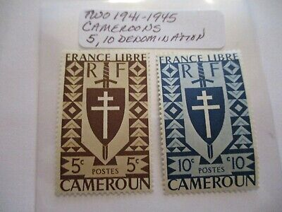 Two 1941-1945 Cameroon Postage Stamps- 5, 10 Denomination