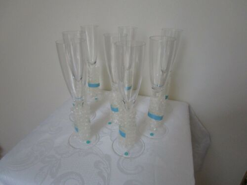 Tiffany & Co Crystal Champagne Flutes Glasses Old Signature Vintage Set of 8