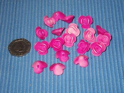 19 x Rose-Shaped Pink Acrylic/Ceramic(?) Beads.