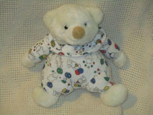 VTG White Clown Bear/Balloons Plush Terry Rattle