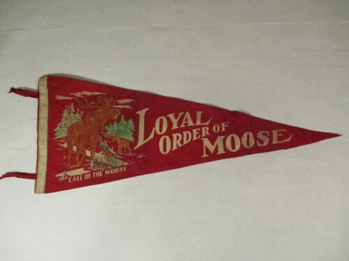"Call of the Loyal Order of Moose Vintage Red Felt Pennant Large 29"" Graphic"