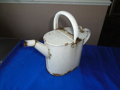 RARE VINTAGE ENAMEL WATERING CAN HINGED LID ARCHITECTURAL ANTIQUES GARDEN
