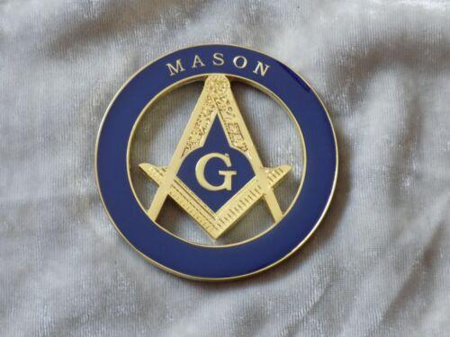 "Masonic 3"" Car Emblem Master Mason Square Compass Fraternity Metal NEW!"