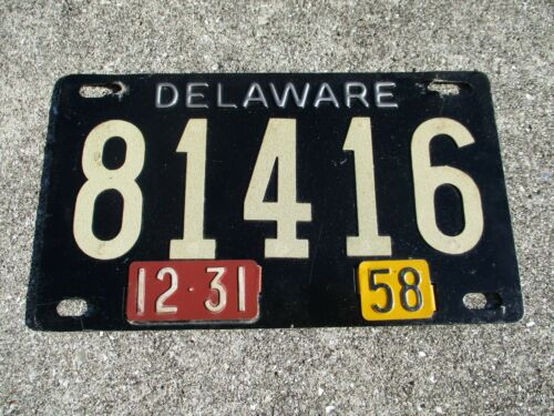 Delaware 1958 Riveted numbers license plate #   81416
