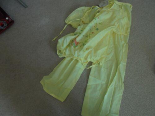 Vintage New Old Stock Girls Size 10 Yellow Long  Pajamas 1970