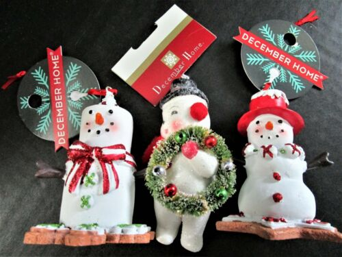 Set Of 3 December Home Snowman Christmas Tree Ornaments NEW