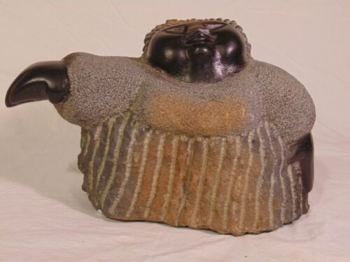 SHONA Zimbabwe African Carved Springstone Sculpture Woman Colleen Madamombe Mom