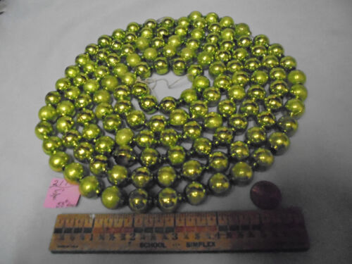 "Christmas Garland Mercury Glass, Chartreuse, 88"" Long 5/8"" Beads, 2118, Vintage"