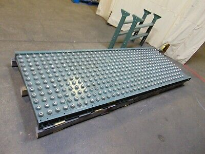 9 Section Of Wide Hytrol Gravity Ball Roller Conveyor With Legs