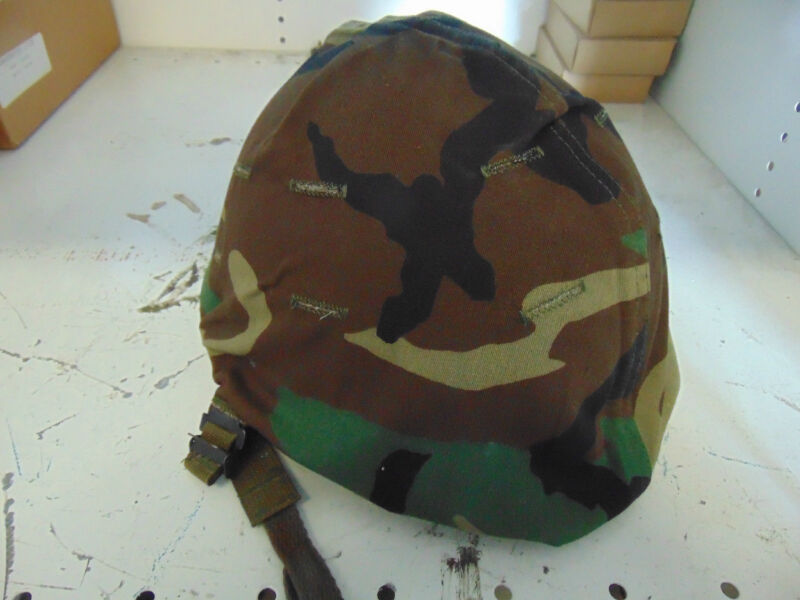 woodland M-1 helmet cover steel pot NOS BDU camo pattern military issue 1980's