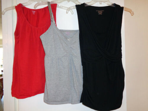 3 Pc Nursing Lot Sz Medium Two Sleeveless Tops/One PJ Nursing Top