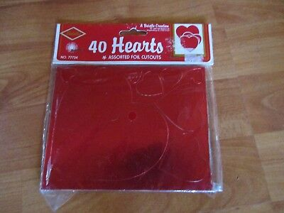 40 Hearts Foil Cutouts Assorted Valentines Decoration Beistle 1989 - Valentines Decoration