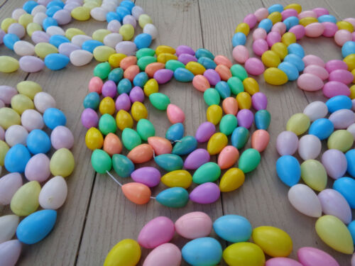 "7 Vintage Pastel Easter Egg Garland Decorations Plastic Blow Mold 70"" L x Extra"