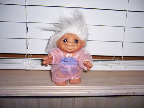 """DAM Troll Doll With Outfit White Hair As Pictured 5.25"""" 1984 Grandma"""