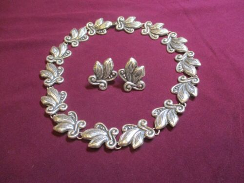 Vintage C. 1940s Los Ballesteros Taxco Sterling Silver Necklace and Earrings