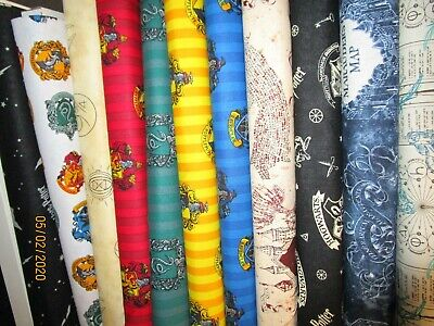 HARRY POTTER houses, insignia and characters 100% COTTON PATCHWORK QUILT FABRIC