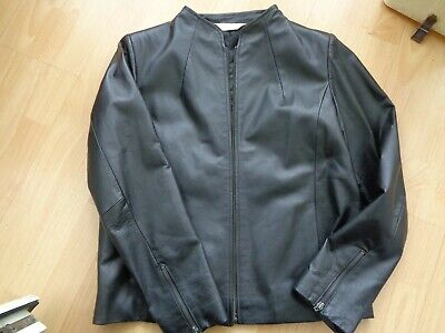 TODAYS WOMAN BLACK LEATHER JACKET SIZE 42 UK 16
