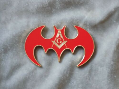 "Masonic 3"" Car Emblem Master Mason Square Compass Red Bat Shape Fraternity NEW!"