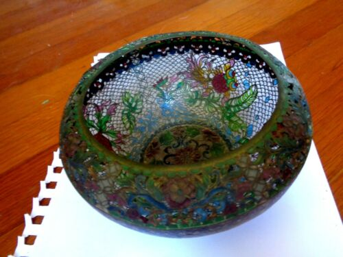 Vintage Beautiful Detailed Bowl Plique a Jour Stained Glass Koi Fish Flowers