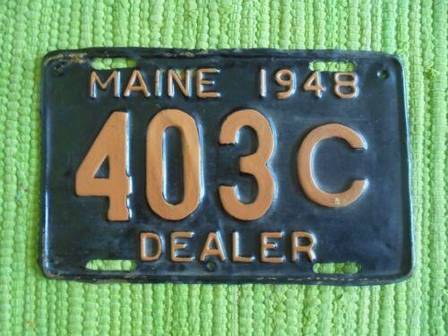 1948 Maine DEALER Brass License Plate ME 48 Tag 403C