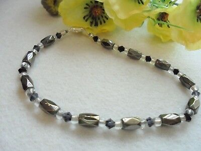 "Ankle Bracelet Magnetic Black Hematite Black Swarovski Crystals 9½"" Ladies"