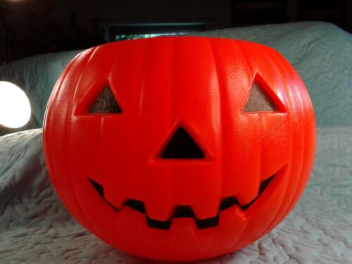 "RARE Large 8"" Tall Blow Mold Halloween Pumpkin Jack O Lantern Candy Pail 1991"