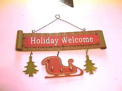 METAL HOLIDAY WELCOME SANTA SLEIGH CHRISTMAS TREES SIGN HOLIDAY DECORATION SIGN