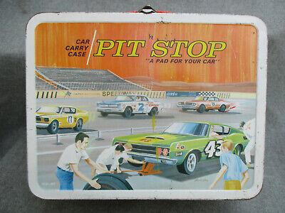 VINTAGE 1968-1969 PIT STOP STOCK CAR RACING METAL OHIO ART LUNCH BOX