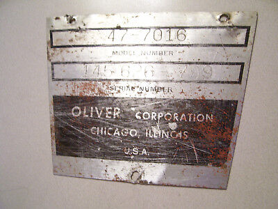 Vintage Oliver 770 Gas Tractor -serial Plate - 1964