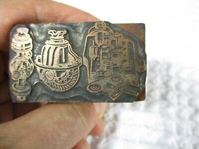 Vintage Letterpress Print Block Copper Plate 3 Engine Motors 2 X 1.25