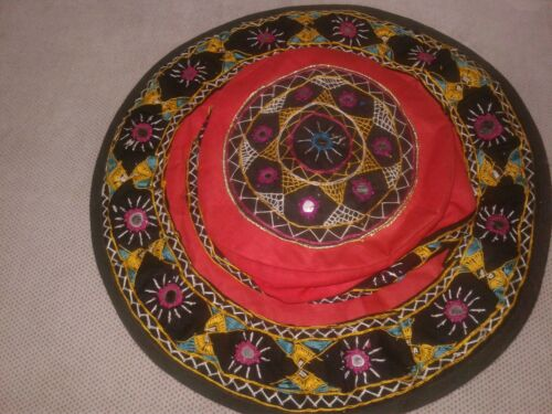 Tribal Ethnic Embroidered Mirror Hat