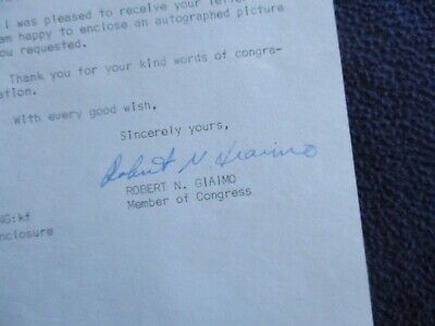 1979 Robert Giaimo (Congressman from Connecticut) Signed letter