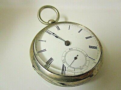 Vintage Waltham Broadway Key wind/Key Set Coin Silver. 18s Runs