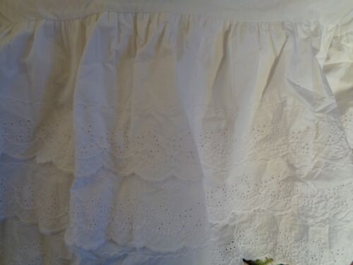 NEW POTTERY BARN BABY WHITE EYELET 3 TIERED CRIB SKIRT