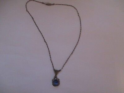Beautiful Art Deco Filigree Sterling Necklace Blue Glass Stone Silver