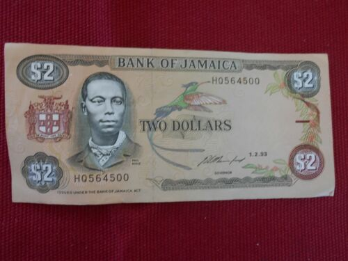 BANK OF JAMAICA $2.00 BANK NOTE 1-2-93 - #HQ564500