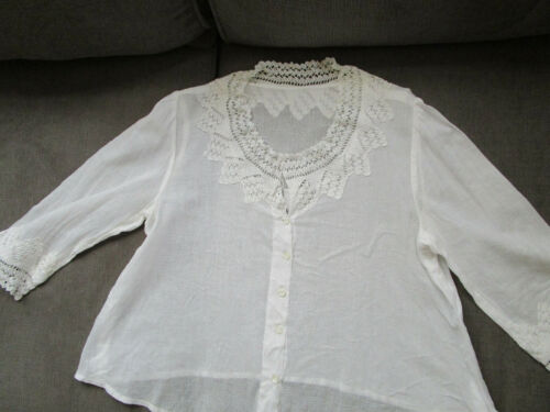 Victorian Blouse Crochet Trim 3/4 sleeves White Sheer Batiste shell buttons