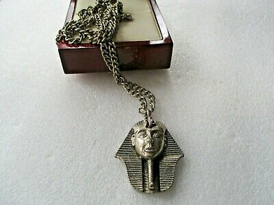 "VINTAGE SILVER TONE EQYPTIAN PHARAOH PENDANT 32"" CHAIN NECKLACE"