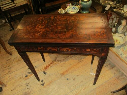 Antique Dutch Marquetry Inlaid Flip-top Game Table