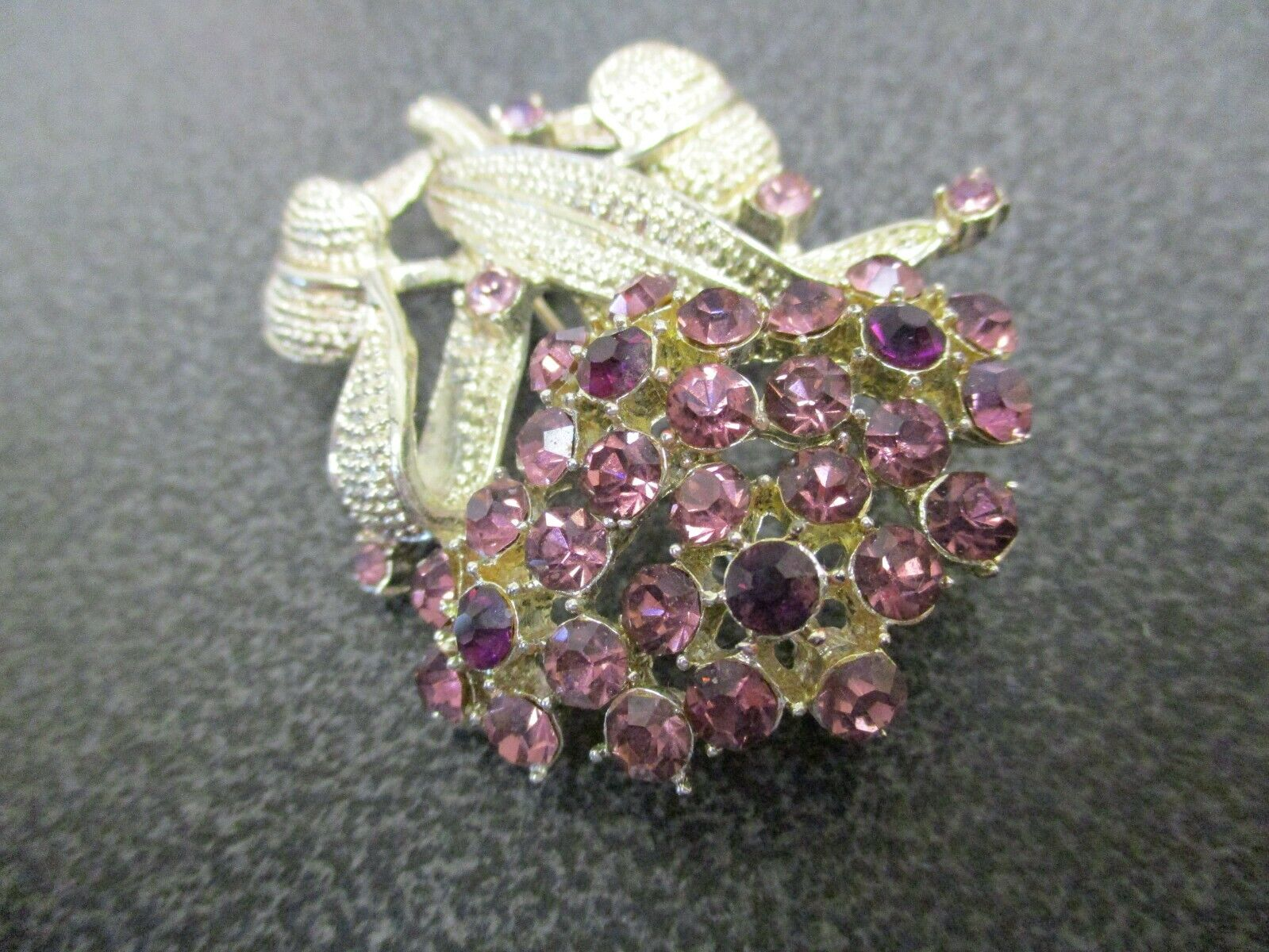 Vintage Gemstone Brooch Lot of 2~ Dragonfly And Floral Bouquet