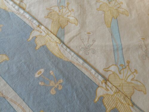 Antique French Art Nouveau Lily Floral Cotton Fabric Combo #4~ Blue Gray~
