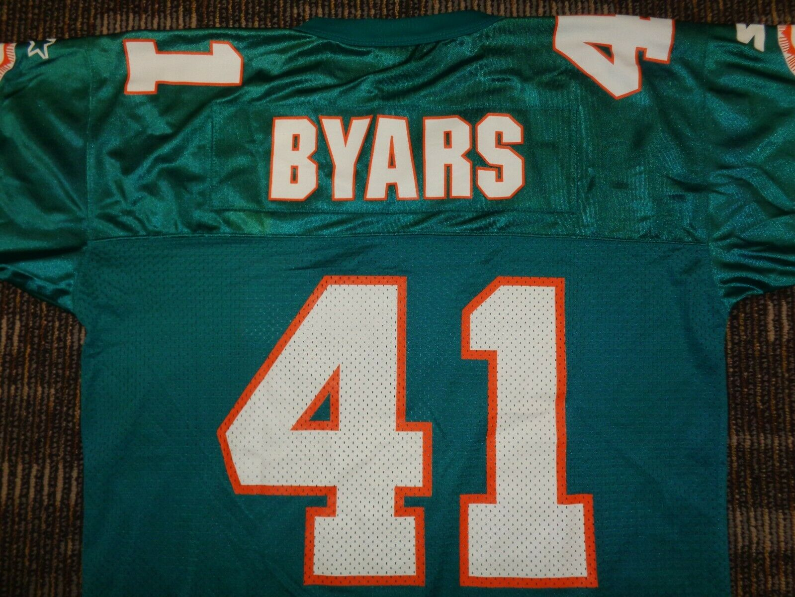 PRISTINE KEITH BYARS 41 MIAMI DOLPHINS STARTER MENS NFL GAME FOOTBALL JERSEY L  - $59.99