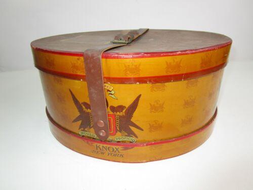 Vintage Knox New York Hat Box Original Store Leather Strap Movie Prop Display